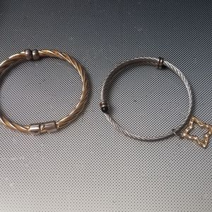 adjustable silver cable bracelet or gold cable